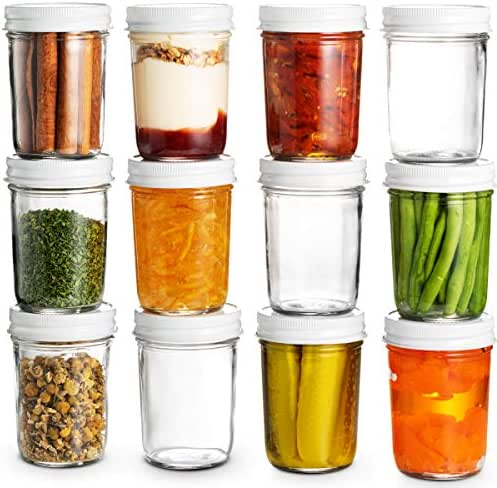 Glass Mason Jars Full Mouth - 8 Ounce - Glass Jars with Metal Airtight Lids Perfect Meal Prep, Food Storage, Canning, Drinking Jars, for Jelly, Jam, Dry Food, Spices, Herbs, Salads, Yogurt, (12 Pack)
