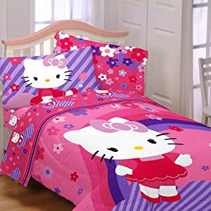 Hello Kitty Raining Flowers 4pc Twin Bedding Collection Comforter Sheet Set Home