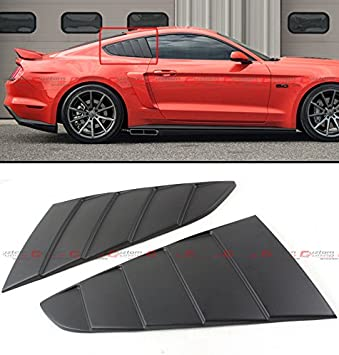 For 2015-2018 Ford Mustang ABS Black Quarter 1//4 Side Window Louver Cover
