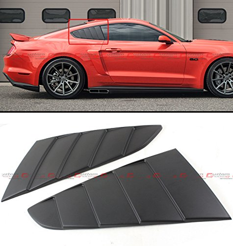 2015 Mustang Quarter Window - Cuztom Tuning Fit for 2015-2018 Ford Mustang GT C Style 1/4 Quarter Window Louver Scoop Side Vent Cover - Matt Black