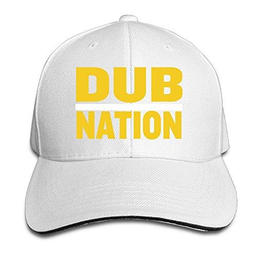 (Dub Nation White Adjustable Flat Caps Unisex Sandwich Hats)