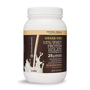 Amazon Elements Grass-Fed 100% Whey Protein Isolate Powder