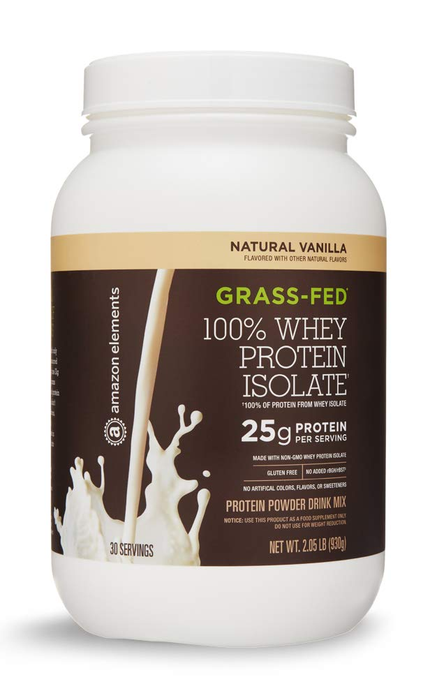 Amazon Elements Grass-Fed 100% Whey Protein Isolate Powder, Natural Vanilla , 2 lbs