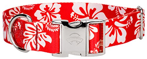 Red Hawaiian Dog - Country Brook Design 1 1/2 Inch Premium Red Hawaiian Dog Collar - Large