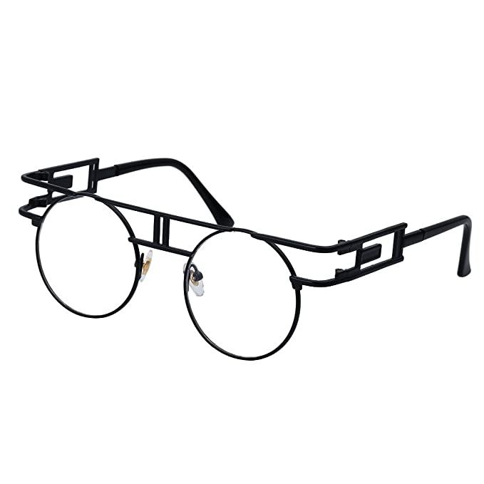 42e17eb26ea QIYIGE John Lennon Style Metal Spring Frame Round Steampunk Glasses with  Clear Lens (Double Bridge