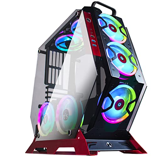 Gabinete ATX Mid Tower PC Gaming Case Open Tower 7 RGB FANS