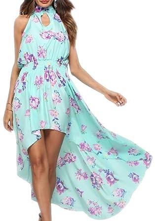 ec6fd8b343 Belie Women s Sexy Chiffon Halter Neck Dress Floral Print Backless Beach  Long Maxi Dresses ...