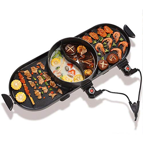 NILINMA Grilled electric grill -Electric Raclette Grill with High Density Granite Grill Stone,High Power Two-Tier Separate Heat Source for Plate/Side Dishes