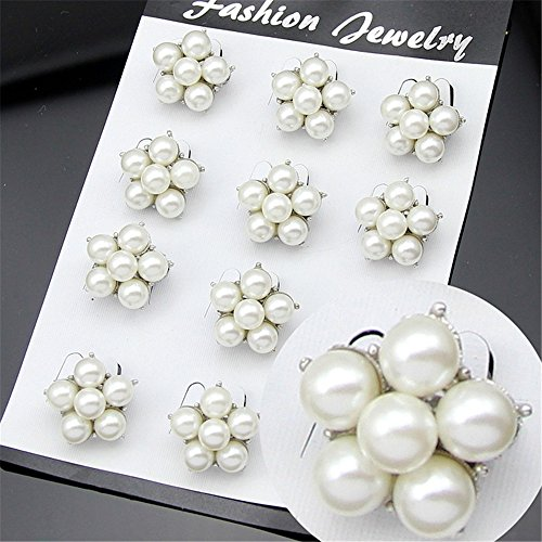 USIX Pack of 12 Floriated Assorted Mini Artificial Pearl Button Brooches Pin Embellishment Set for Wedding Bouquet Cake Dress Corsage Boutonniere DIY Decoration(Style 3 Silver - Pearl Set Pin