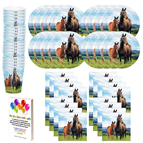 Wild Horses Birthday Party Supplies Set Plates Napkins Cups Tableware Kit for 16 Guests