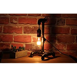"""Loft Style Lamp with Dimmer, Dimmable Steampunk Industrial Vintage Antique Style Light, Iron Piping Aged Rustic Metal Desk Lamp, Y-Nut """"Fisherman"""" (Black) QTF-TB01-BLK"""