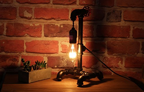 "Loft Style Lamp with Dimmer, Dimmable Steampunk Industrial Vintage Antique Style Light, Iron Piping Aged Rustic Metal Desk Lamp, Y-Nut ""Fisherman"" (Black) QTF-TB01-BLK 4"
