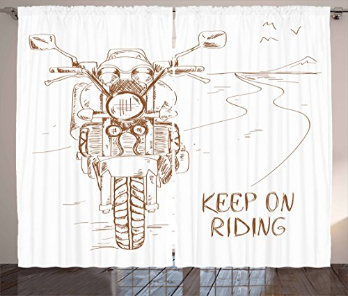 Ambesonne Motorcycle Curtains, Keep on Riding Words and Motorbike on The Road with Birds Sketch Art Picture, Living Room Bedroom Window Drapes 2 Panel Set, 108 W X 90 L Inches, White Brown
