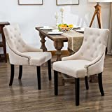 Mecor Fabric Dining Chairs Set of 2,Leisure Padded Chair with Armrest,Black Solid Wooden Legs (Beige)