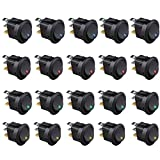 Etopars™ 20Pcs Car Boat Truck Rocker Round Dot Toggle LED Switch Blue Red Green Yellow Light On-off Control 12V 16A