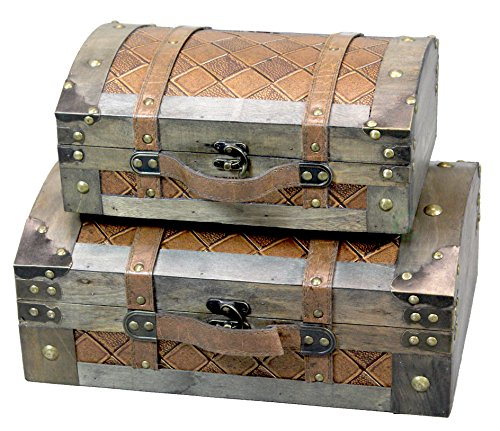 Antique Leather Suitcases - Set of 2 Vintage Suitcase Style Leather Chests