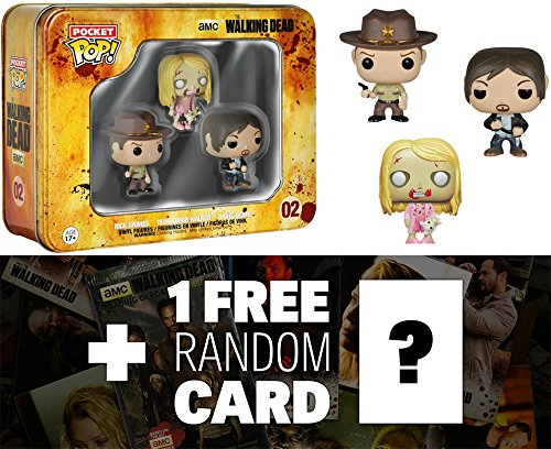 Funko FUNKO//047993 x Walking Dead Vinyl Figure Sheriff /& Teddy Bear Walker Tin Boxset: Pocket POP 47993 Daryl 1 FREE Official Walking Dead Trading Card Bundle