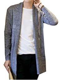 CFD Mens Shawl Collar Open Front Pockets Casual Cardigan Long