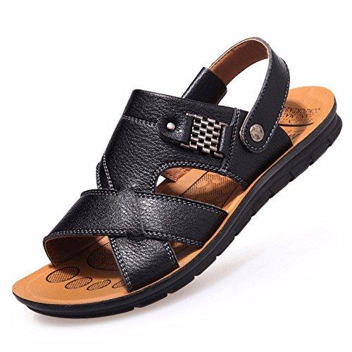 Männer Sandalen Männer Sommer Echtleder Freizeit Schuh Atmungsaktiv Strand Schuh Männer Jugend Leder Rutschfest Sommer Leder Sandalen ,schwarz,US=7.5,UK=7,EU=40 2/3,CN=41