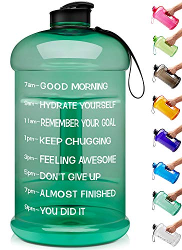 Venture Pal Large 1 Gallon/128 OZ & 74 OZ Motivational Leakproof BPA Free Water Bottle with Time Marker Perfect for Fitness Gym Camping Outdoor Sports-1Gallon-Green (Camping Bottles)