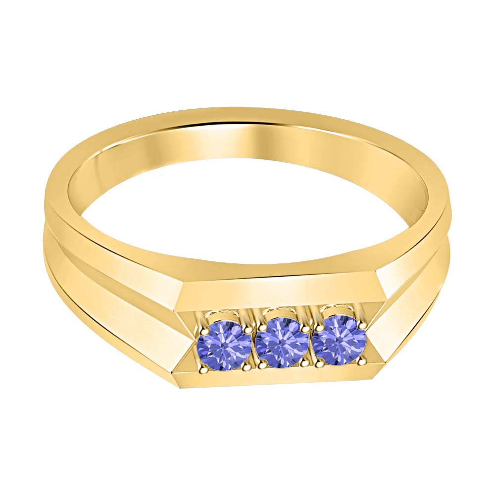 RUDRAFASHION 14k Yellow Gold Plated Round Cut Blue Tanzanite 925 Sterling Silver Mens Anniversary Band Ring