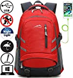 ProEtrade Backpack Bookbag For School College Student Travel Business with USB Charging Port (Red)