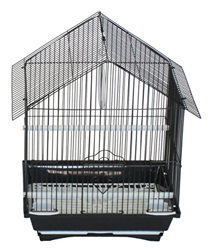 YML A1114MBLK House Top Style Small Parakeet Cage, 11'' x 9'' x 16'' by YML
