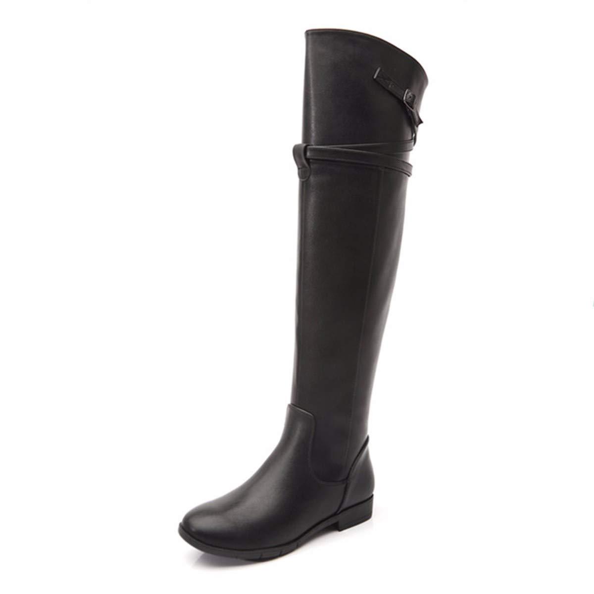 KPHY Damenschuhe Stiefel High 1-3Cm Frauen - Herbst - Winter Flachen Boden Hohe Stiefel Ritterlichkeit Stiefel.