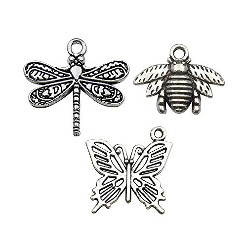 60pcs Craft Supplies Mixed Dragonfly Butterfly Bee Charms for Jewelry Making Crafting Findings Accessory for DIY Necklace Bracelet M07 -