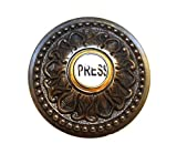 Round PRESS Porcelain Door Bell Button Electric Brass Old Style Aged Bronze