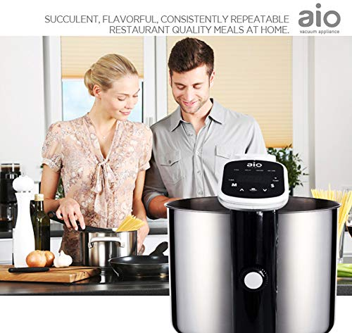 AIO Sous Vide Cooker - Powerful 1000 Watt Professional Model - 120V - Includes Vacuum Sealer - 15 Vacuum Bags - 1 16ft Roll - Cookbook - Immersion Circulator - Precision Thermal Kitchen Cooking Machine - Accurate to 0.2 degrees F - Ultra Quiet by AIO (Image #6)