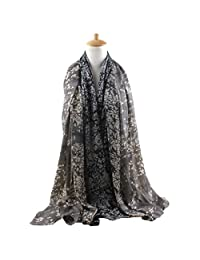 FEOYA Women Jungle Leaf Scarf Printed Lightweight Silk Blend Infinity Shawl Wrap Grey
