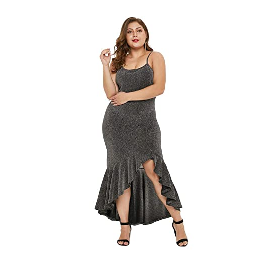 Vestido Largo Mujer Talla Grande Escotado por Detrás Sexy Bajo ...