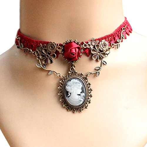 [Dreamyth Women Red Rose Lace Cameo Pendant Choker Necklace] (Cameo Choker Necklace)