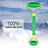 Jade Roller Facial Massager, Lifebee Original 100% Natural Himalayan Jade with Double Ball - Anti Aging, Therapy, Neck Healing, Face Slimming - Massage Tool