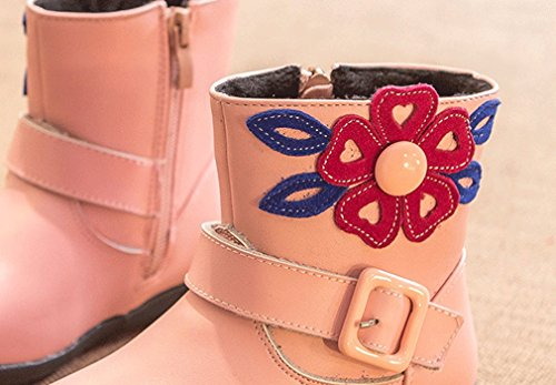 Velvet Boots Leather Pointss Waterproof Warm Pink Flower Boots Boots Winter Boots Girl's Princess Fashion Snow Short S5OA5q