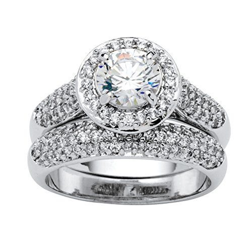 Palm Beach Jewelry Round Pave White Cubic Zirconia Platinum-Plated 2-Piece Bridal Ring Set Size 5 (Platinum Pave Set)