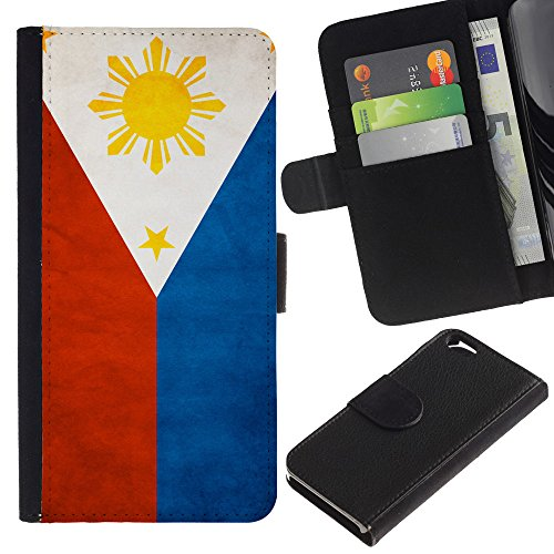 EuroCase - Apple Iphone 6 4.7 - Philippines Grunge Flag - Cuir PU Coverture Shell Armure Coque Coq Cas Etui Housse Case Cover