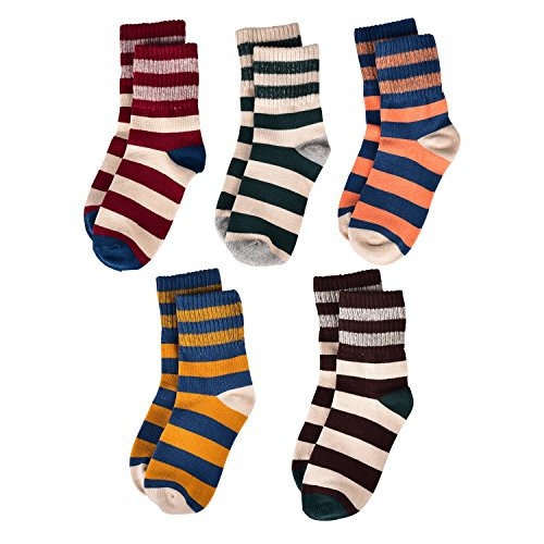 Flanhiri Kids Boys Striped Cotton Crew Socks 5 Pack (5 pairs, L (6-9 Years))