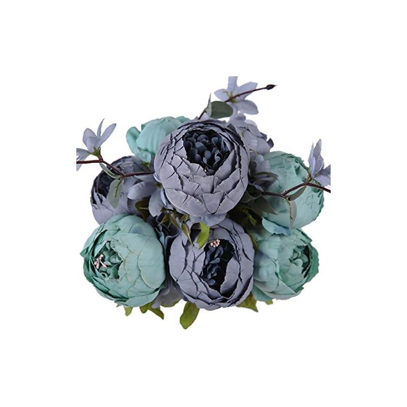 silk flower arrangements luyue vintage artificial peony silk flowers bouquet home wedding decoration (new dark blue)
