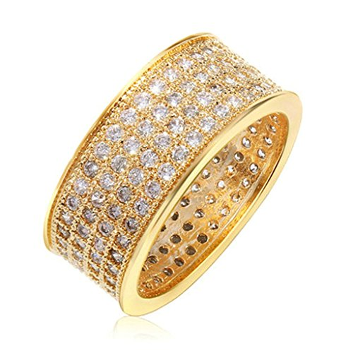 Daesar Gold Plated Wedding Bands Womens Rings Matte Rings Zirconia Pave Wedding Rings Size: 8