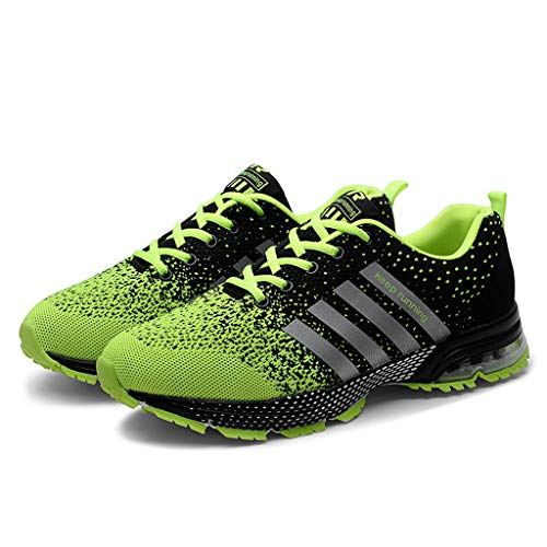 (SUNyongsh Mens Mesh Sneakers Breathable Basketball Running Shoes Solid Sport Athletic Shoes Summer Casual Flats Green)