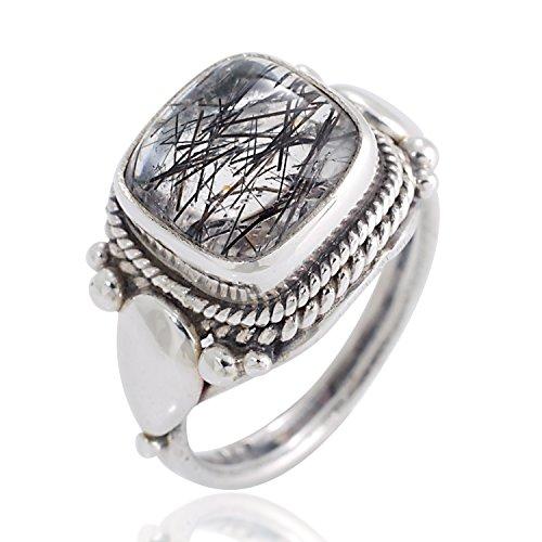 Chuvora 925 Sterling Silver Natural Black Rutile Quartz Gemstone Square Rope Edge Vintage Band Ring Size 6 ()