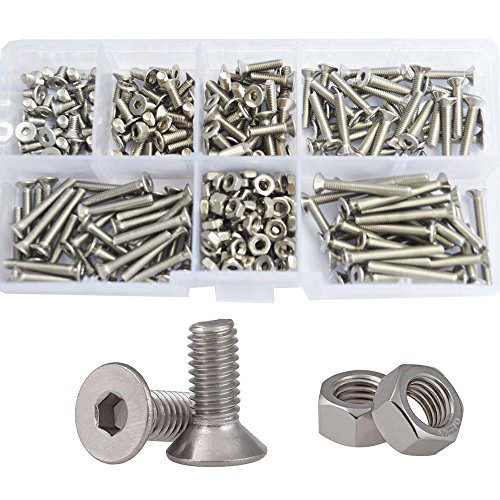 - Flat Head Hex Socket Cap Screws Metric Countersunk Bolts Nuts Assortment Kit 260pcs,304Stainless Steel M3