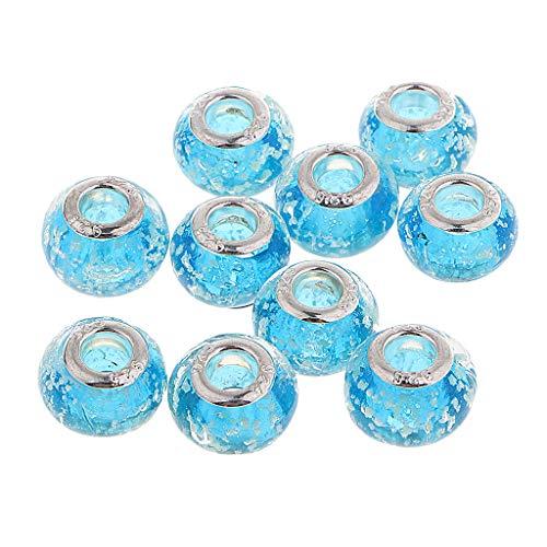 CUTICATE 10PCS Handmade Lampwork Glass European Beads, Large Hole Rondelle Beads, 14mm Diameter - ()