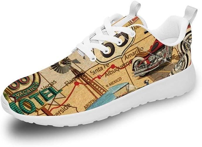 Mesllings Unisex Zapatillas de Running Vintage Route 66 Vacancy Ligero Deporte Moda Zapatos para Exterior: Amazon.es: Zapatos y complementos