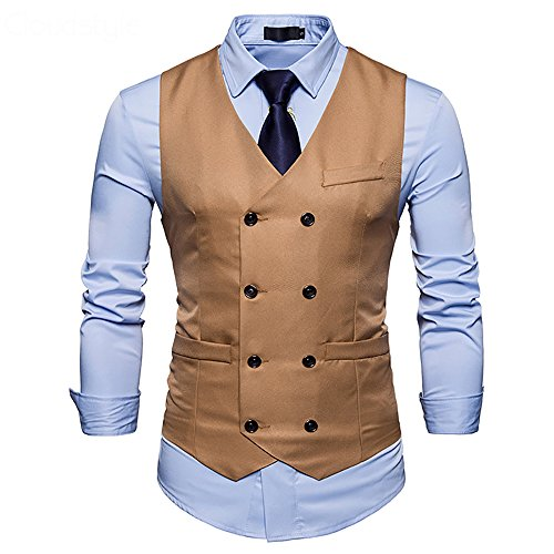 Cloudstyle Mens Vest Double Breasted V-Neck Slim Fit Formal Dress Vest Business Waistcoat by Cloudstyle
