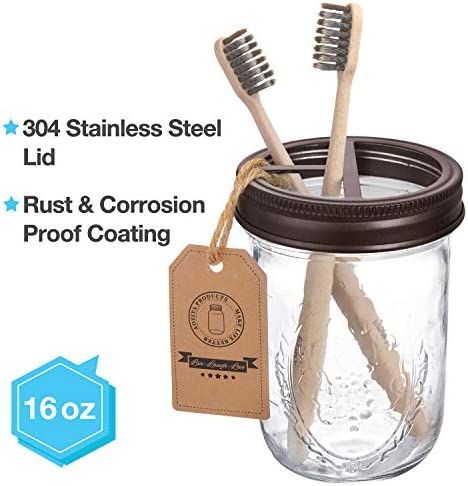 AOZITA Mason Jar Bathroom Accessories Set 4 Pcs – Mason Jar Soap Dispenser & 2 Apothecary Jars & Toothbrush Holder – Rustic Farmhouse Decor, Bathroom Home Decor, Countertop Vanity Organize – Bronze 51JMPMteBjL