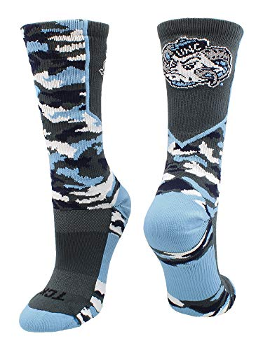 TCK Sports North Carolina Tar Heels Woodland Camo Crew Socks (Graphite/Carolina Blue, Medium)