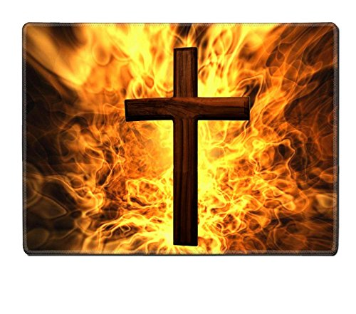 Liili Natural Rubber Placemat Image ID 8309024 Flaming Cross Christian Art Can be canvas or paper printed